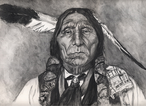 indian chief and wolf - photo #5